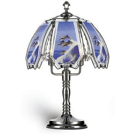 Ok Lighting 23 5 H Dolphin Theme Touch Lamp Black Chrome