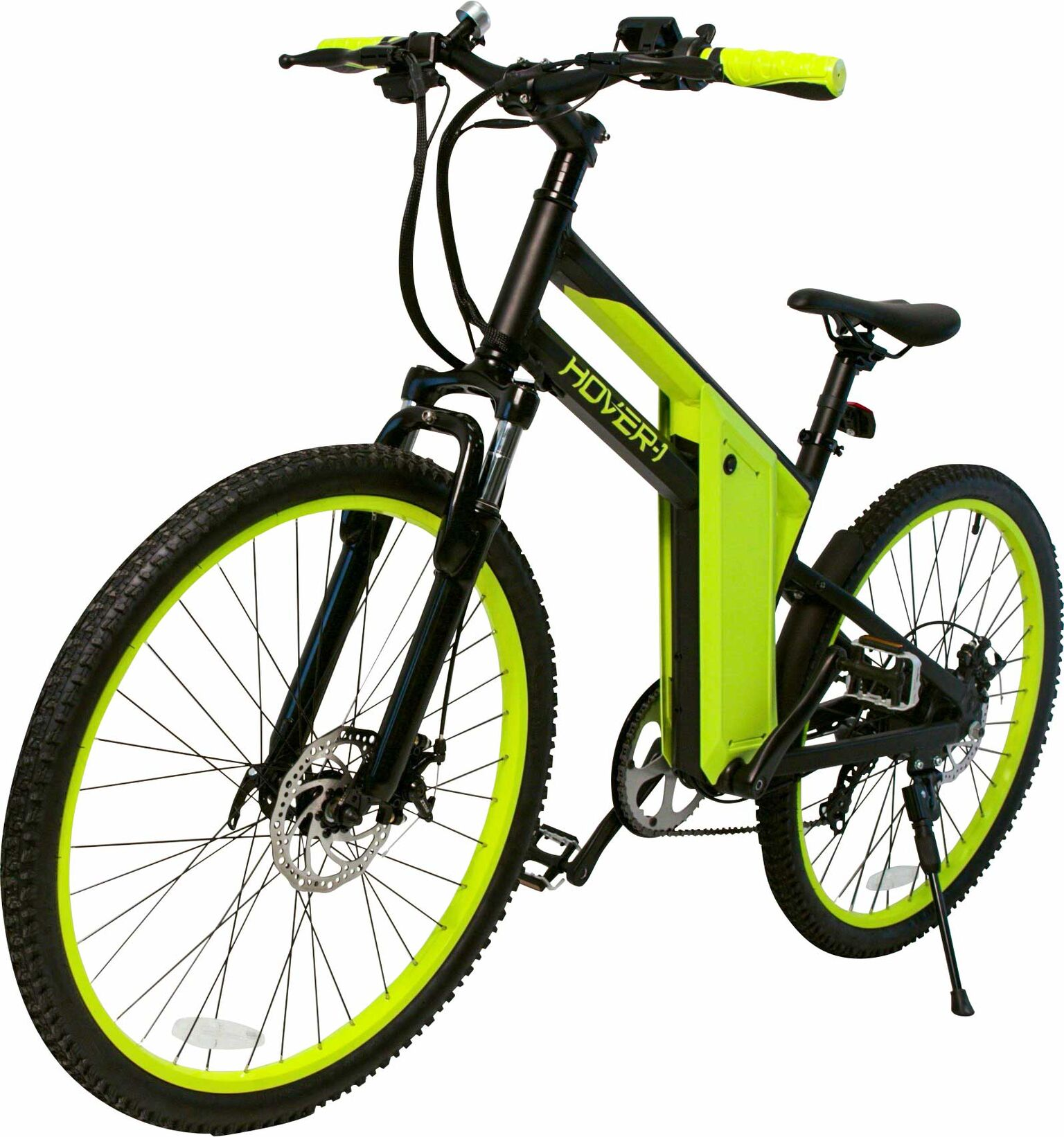 "Hover-1 Hybrid UL Certified Pedal Assisted Electric Bike w/ 26"" Wheel, Alloy Frame, 3 Speed Mode, Shimano Derailer, Front & Rear Disc Breaks - Black and Neon Green"