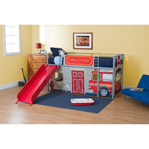 Boys' Fire Department Twin Metal Loft Bed with Slide, Red