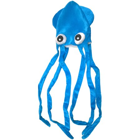 Giant Squid Costume (Novelty Blue Squid With Long Tentacles Party Hat Cap Costume)
