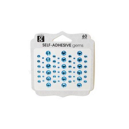 Studio G Aqua Adhesive Gems, 60 Count