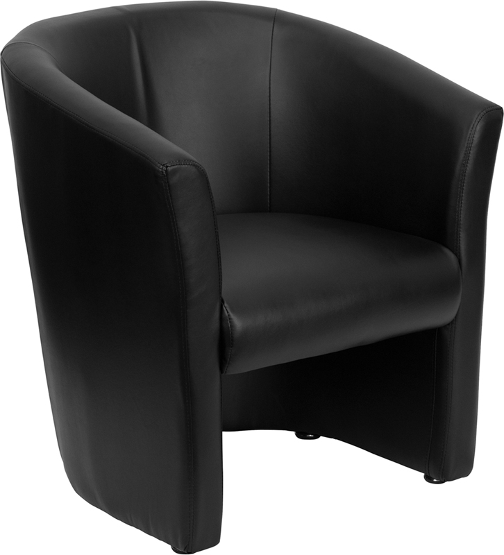 Black Leather Barrel-Shaped Guest Chair - GO-S-01-BK-QTR-GG
