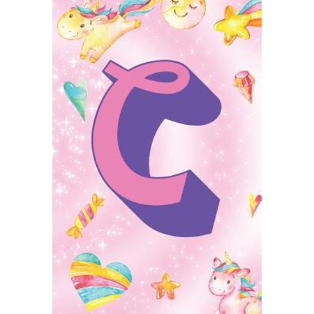 C : Personalized Monogram Initial For First Or Last Name, Unicorn Design on Pink Star Dream Fantasy Pattern, Lined Paper Note Book For Girls To Draw, Sketch & Crayon or Color (Kids Teens Adult Journal With Hearts Flowers Candy)