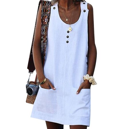 Boho Dress for Women Summer Casual Beach Holiday Sundress Sleeveless Evening Party Loose Tunic Tops Pockets Mini Dress (Ladies Dresses Casual)