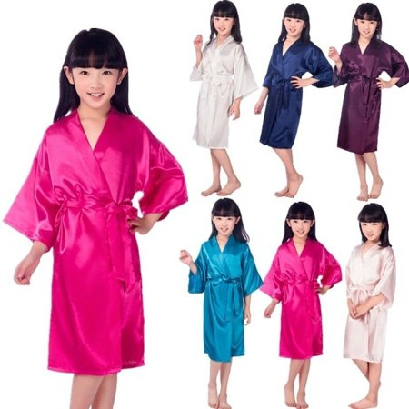 Wedding Flower Girls children Kimono robe nightwear dress satin gown Peacock