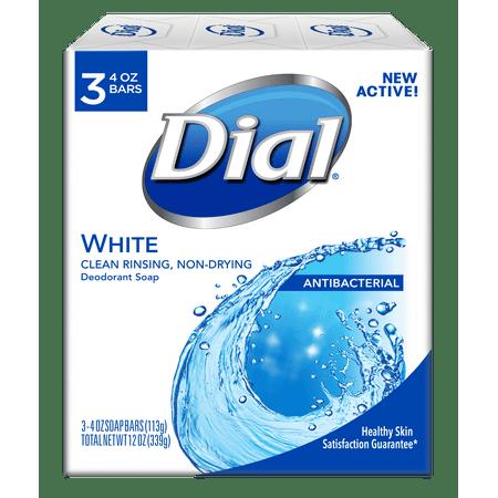 Dial Antibacterial Deodorant Bar Soap, White, 4 Ounce Bars, 3