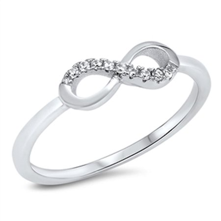 Infinity Forever Love White CZ Promise Ring ( Sizes 4 5 6 7 8 9 10 ) .925 Sterling Silver Band Rings by Sac Silver (Size 6)