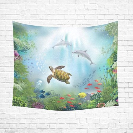 CADecor Undersea World Sea Turtle Home Decor Tapestry Wall Art Wall Tapestry 60x80 Inches