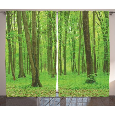 Farm House Decor Curtains 2 Panels Set, Spring Forest In A Sunny Day Bright Fresh Light Colors Like A Dream Leaf Peace Theme, Living Room Bedroom Accessories, By - Forest Themed Room Ideas