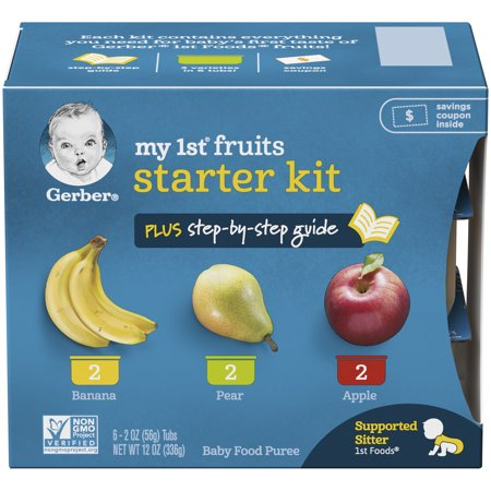 (2 Boxes) Gerber My 1st Fruits Baby Food Puree Starter Kit, 2 oz Tubs, 6