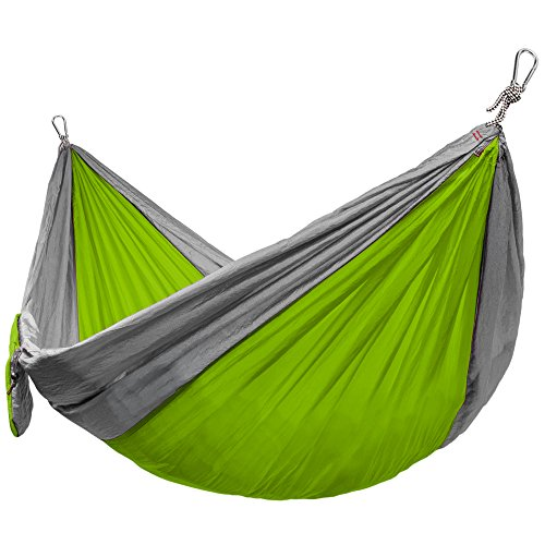 Grizzly Peak Single-Wide Camping Hammock, Lightweight, Portable Parachute Nylon, Green/Gray