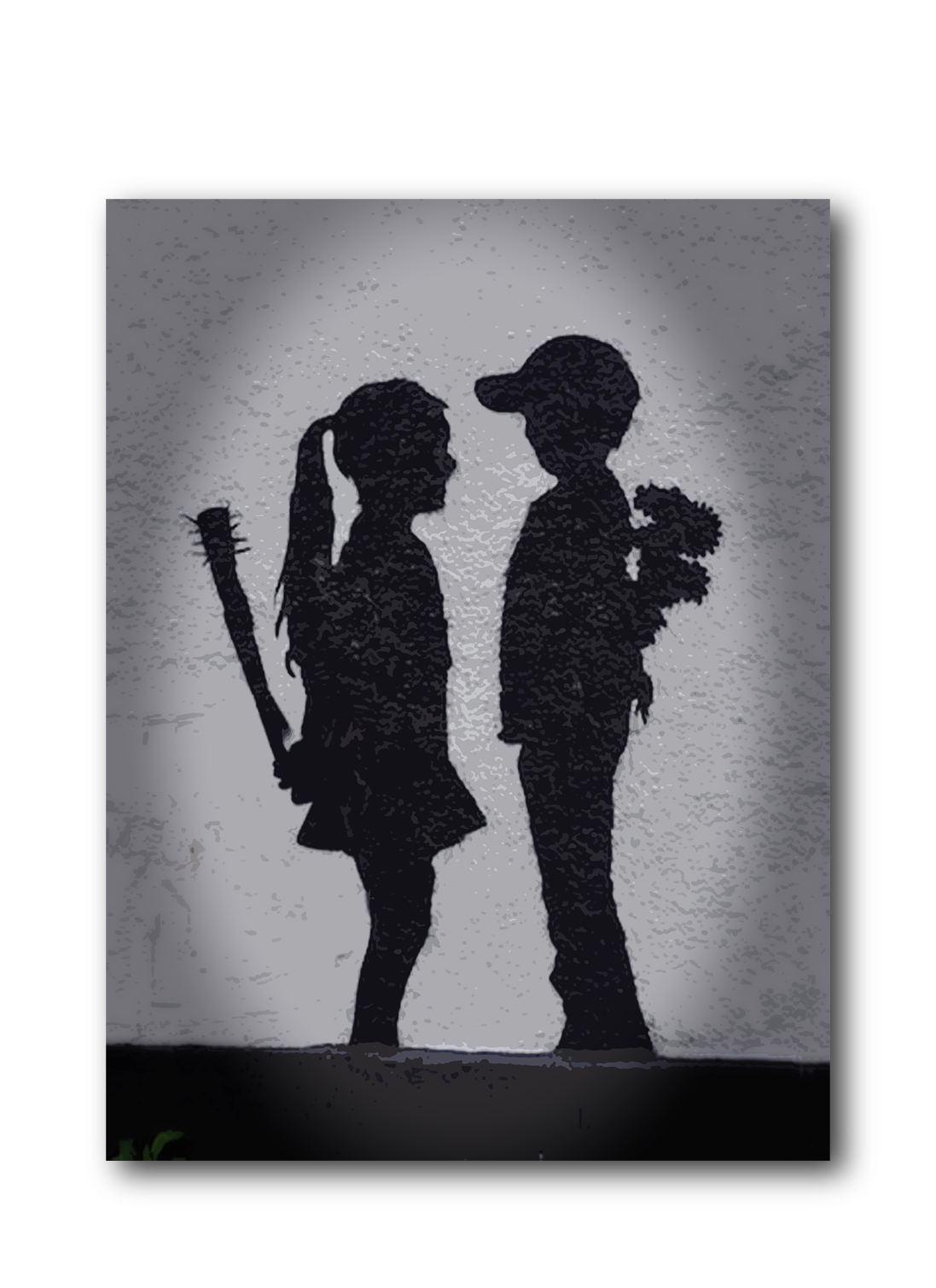 "Banksy Girl Meets Boy Brushed Aluminum Metal Print (14"" x 11"") by Pingotopia Inc."