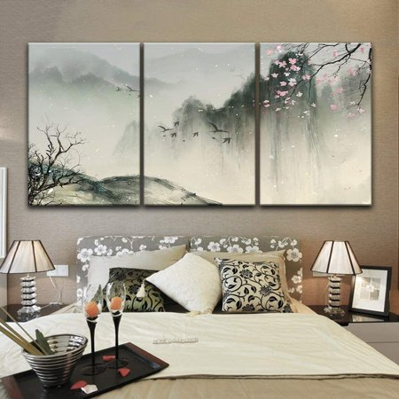 wall26-3 Panel Canvas Wall Art - Chinese Ink Painting Style Landscape with Mountains and Cherry Blossom in Spring - Giclee Print Gallery Wrap Modern Home Decor Ready to Hang - 16