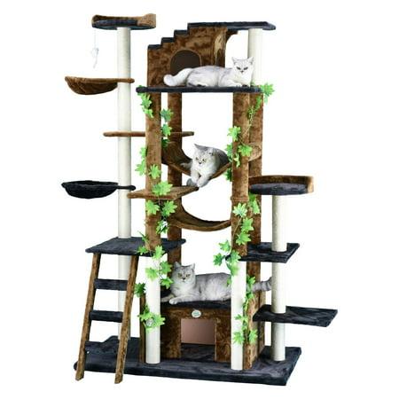 Go Pet Club Cat Tree Furniture 77 in. High - Jungle - - Jungle Cat Tree