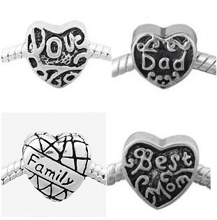 Pack of (4) Four Mom, Dad, Love, Family Charm Spacer Beads. Compatible With Pandora Style Bracelets.