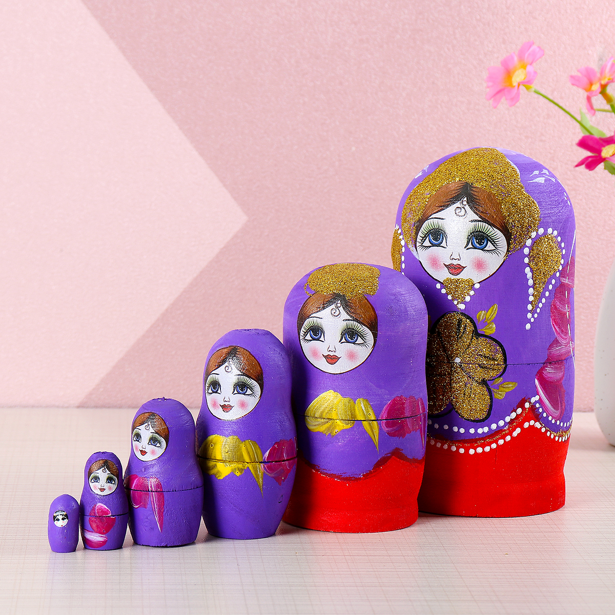 "10 Wood Russian Matryoshka Nesting Dolls Hand Paint Gift Room Desk Decor Pink 6/"""