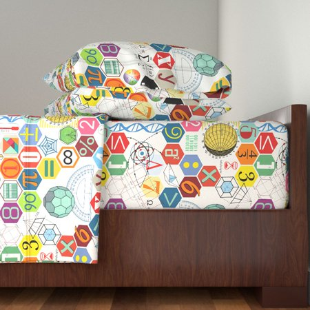 Science Math Atomic Typography Vintage 100% Cotton Sateen Sheet Set by Roostery