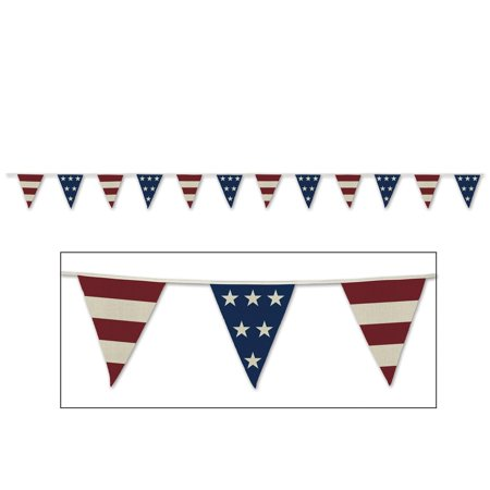 Club Pack of 12 Summer 4th of July Red, White and Blue Flag Pennant Banner 12'