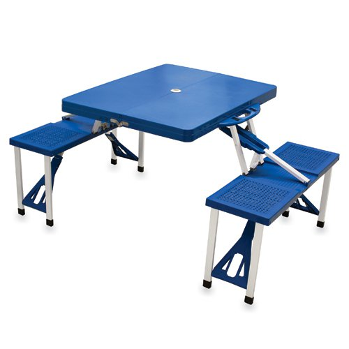 Picnic Time Blue Folding Picnic Table