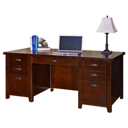 Tribeca Double Center (Martin Furniture Tribeca Loft Cherry Double Pedestal Executive Desk )