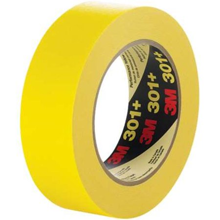 3M T93330112PK 0.50 in. x 60 yards 301 Plus Masking Tape, Yellow - Pack of 12 - image 1 de 1