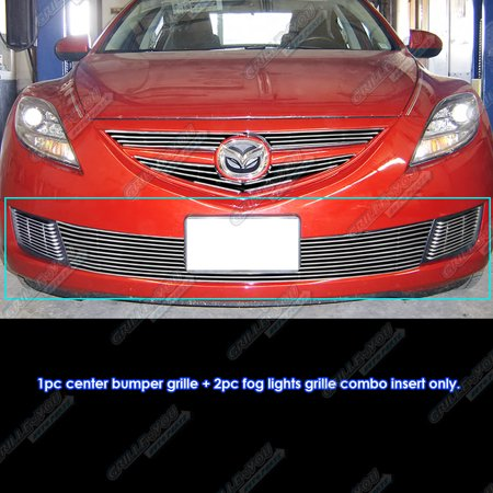 Fog Lamps Billet Grille - Compatible with 2009-2010 Mazda 6 Lower Bumper and Fog Light Billet Grille Combo M67666A