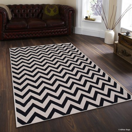 Black Allstar Indoor Outdoor All Weather Rug With Arrow