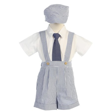 Blue Stripe Seersucker Suspender Shorts Outfit Boys 12M-4T (Boys Blue Seersucker)