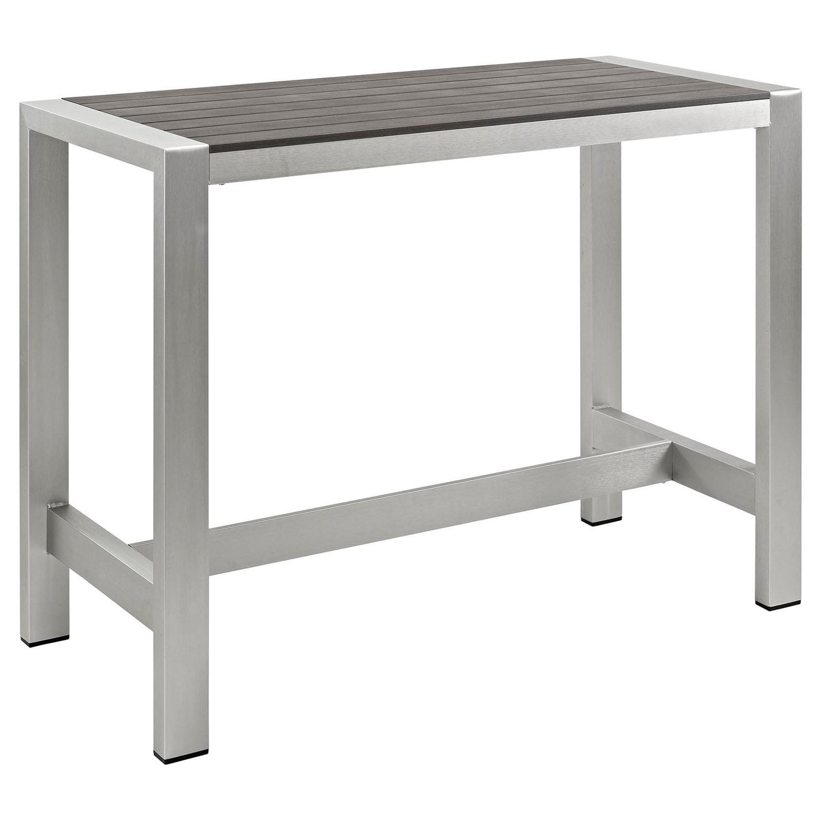 Modway Shore Outdoor Patio Aluminum Rectangular Bar Table, Silver/Gray