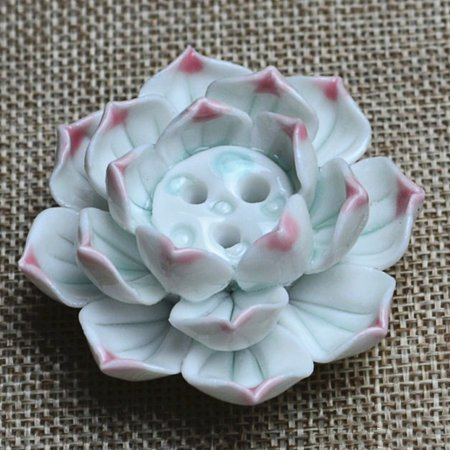 New Ceramic Incense Burner Stick Holder Lotus Catcher Plate Natural 3 Holes