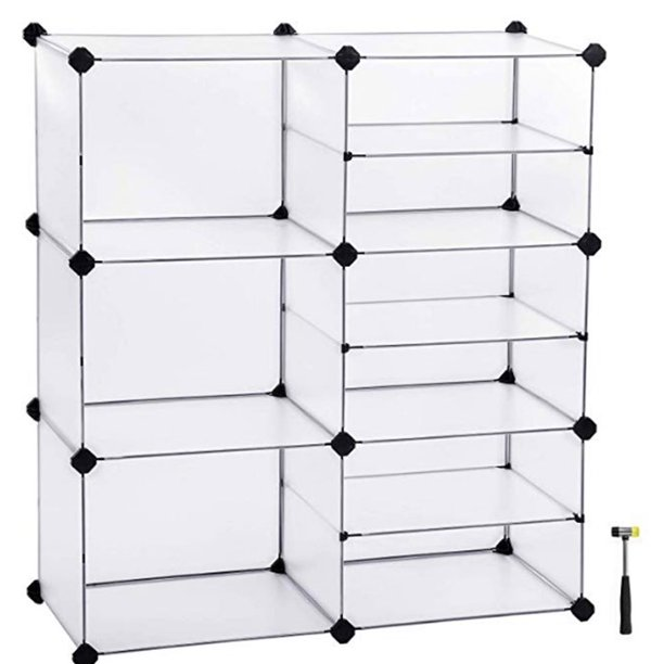 Veryke Cube Storage Organizer Shoe Rack 9 Cube Storage Unit Plastic Cube Storage Shelves For Bedroom Living Room Office White Walmart Com Walmart Com