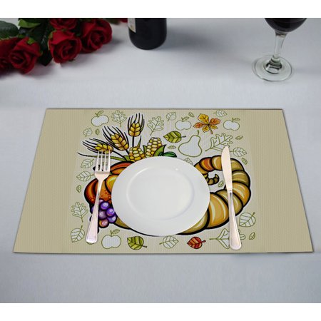 YKCG Thanksgiving Theme Harvest Cornucopia Placemats Size 12x18 inches,Set of 2 - Thanksgiving Theme