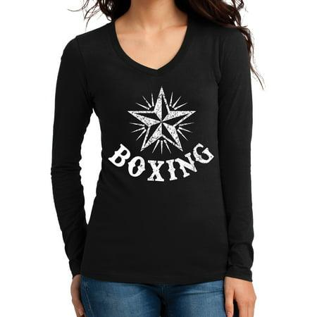 Junior's Boxing Star Black Long SLV V-Neck T-Shirt 2X-Large Black
