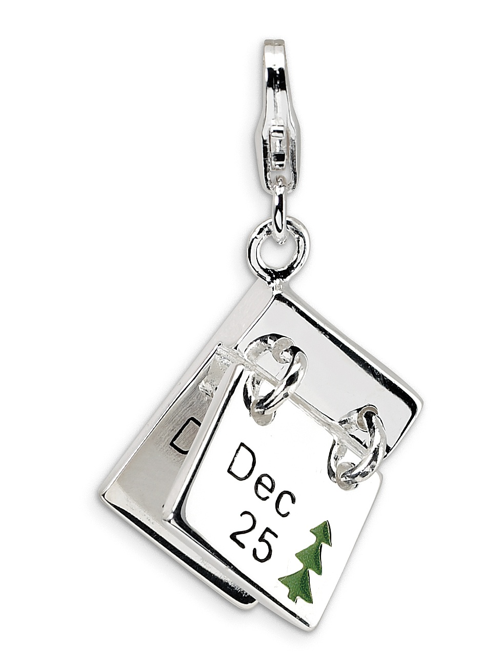 Sterling Silver Rhodium Plated 3-D Enameled Black Handbag with Lobster Clasp Charm 0.9IN long x 0.7IN wide