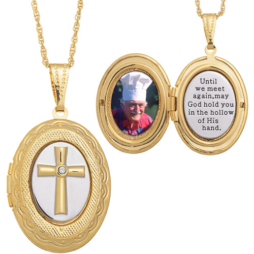 Two-Tone Memorial Cross 14kt Gold-Plated Locket Pendant, 20""