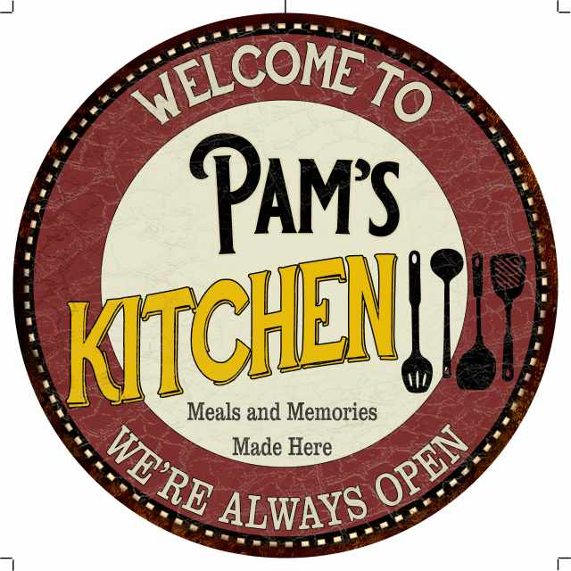 """Pam's Kitchen 14"""" Round Metal Sign Bar Game Room Wall Déco 100140040367"""