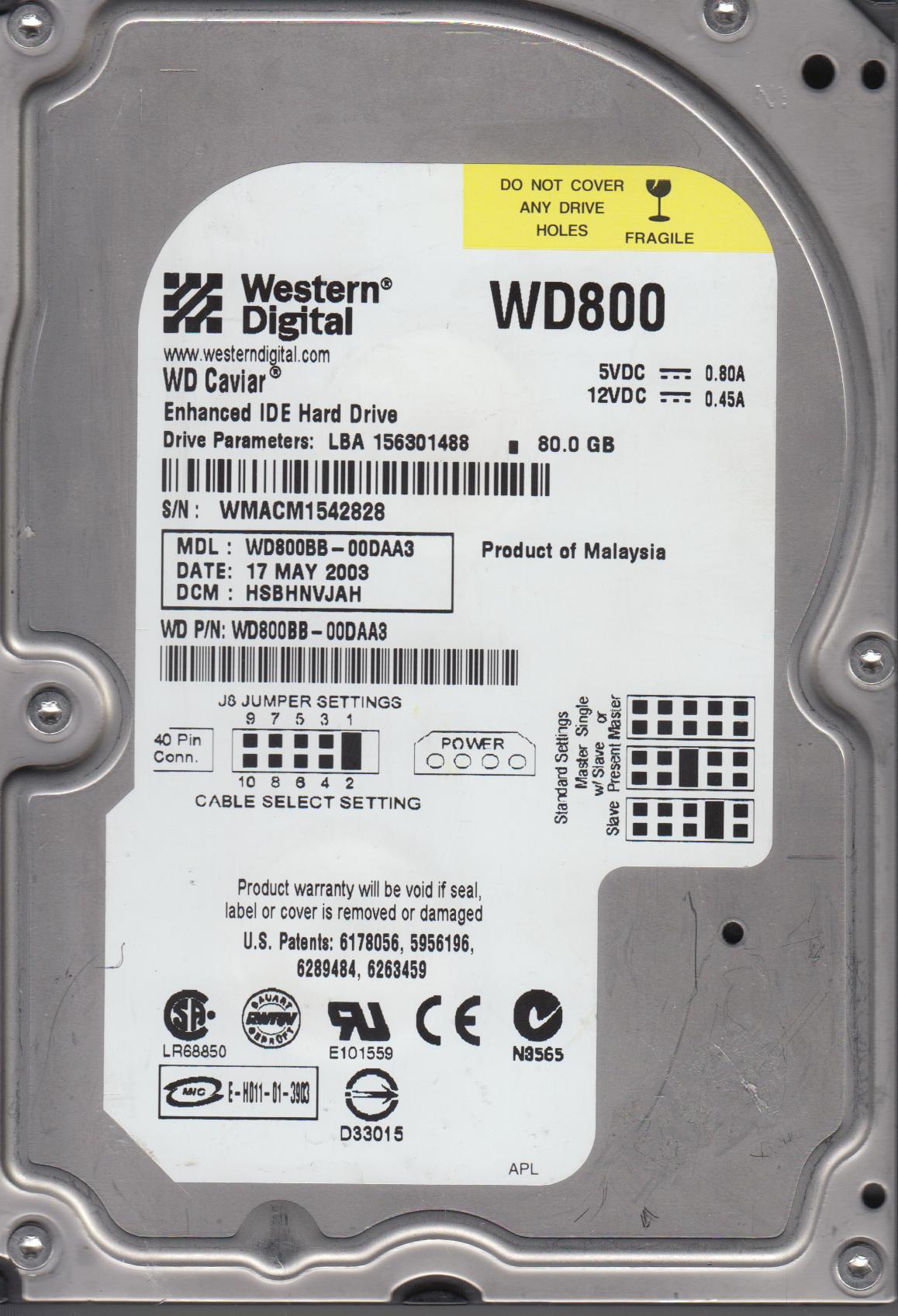 WD800BB-00DAA3, DCM HSBHNVJAH, Western Digital 80GB IDE 3.5 Hard Drive by Western Digital