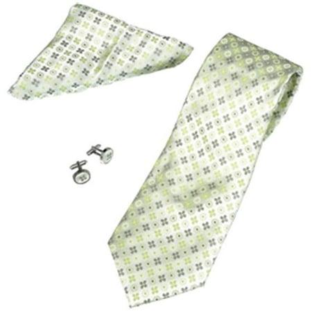 Glass Green Cufflinks (Nature Green Flower Pattern Tie, Cufflinks & Pocket Square Gift Set )