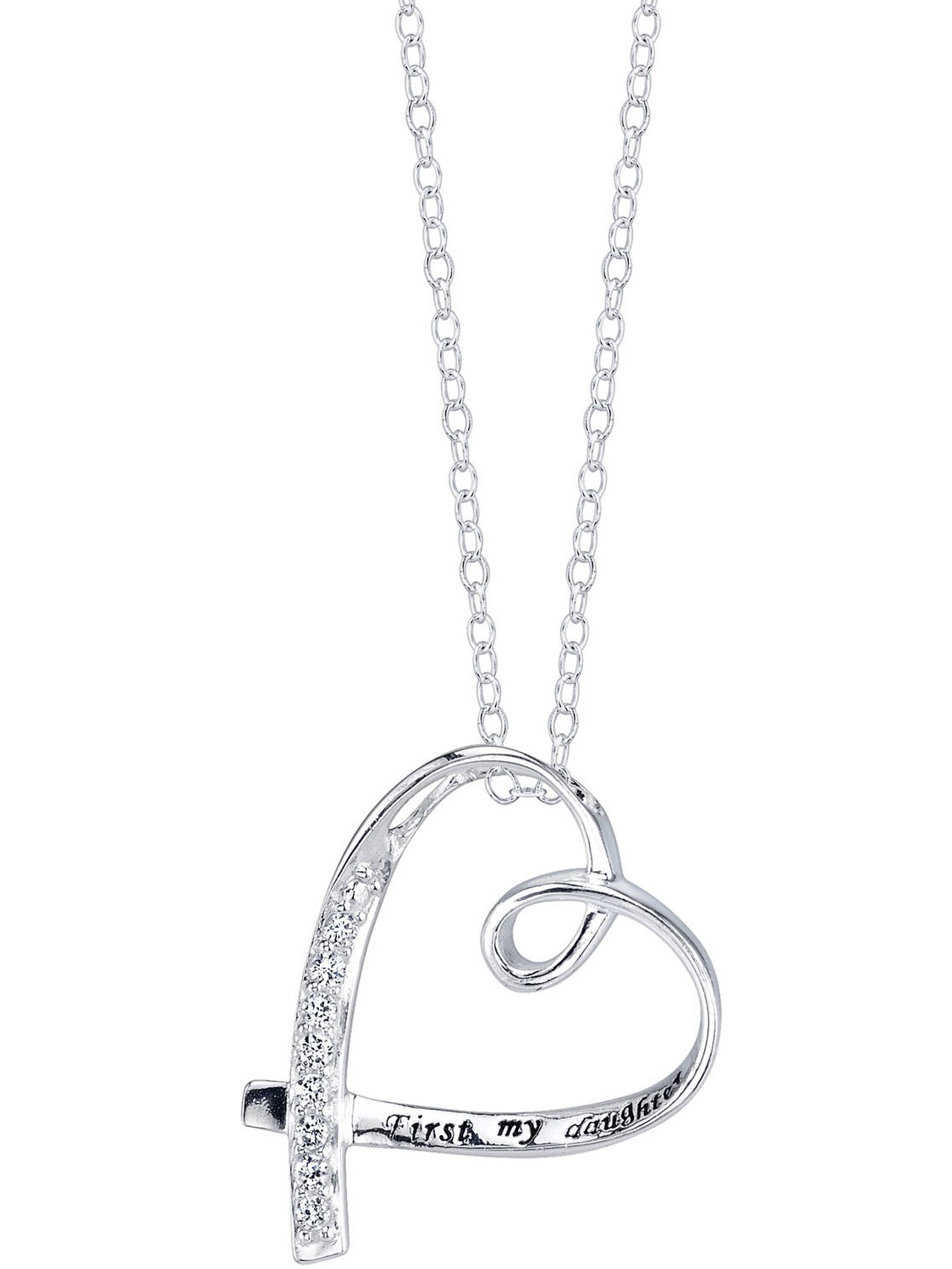 "Sterling Silver ""First my daughter forever my friend"" CZ Heart Necklace, 18"""