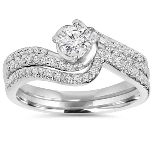 Diamond Engagement Ring Set 1 ct Matching Wedding Band Solitaire Round 14k Gold