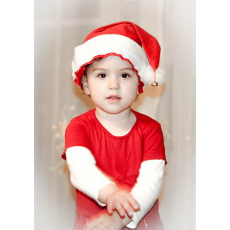 LAMINATED POSTER Kid Santa Claus Little Girl Nice Red Portrait Poster Print 24 x 36 ()