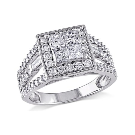 Princess Cut Diamond Halo Engagement Ring 1 1/2 Carat (ctw Color G-H, Clarity I2-I3) in 14K White Gold