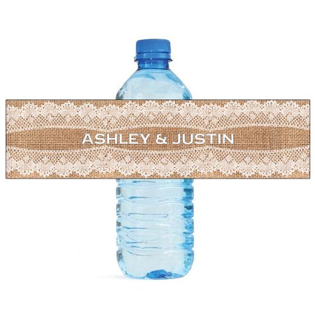 100 Burlap and Lace New Wedding Anniversary Engagement Party Water Bottle Labels 8