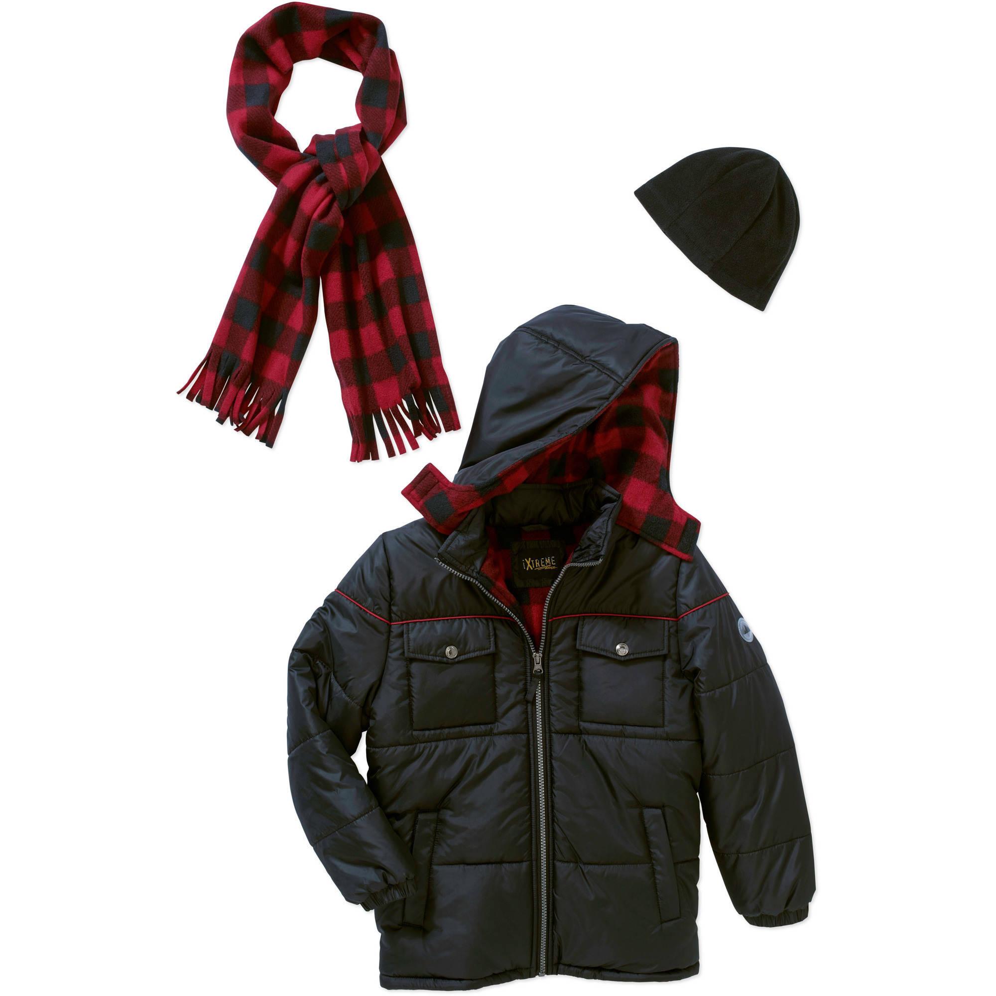iXtreme Boys' Bubble Jacket with Bonus Scarf & Hat