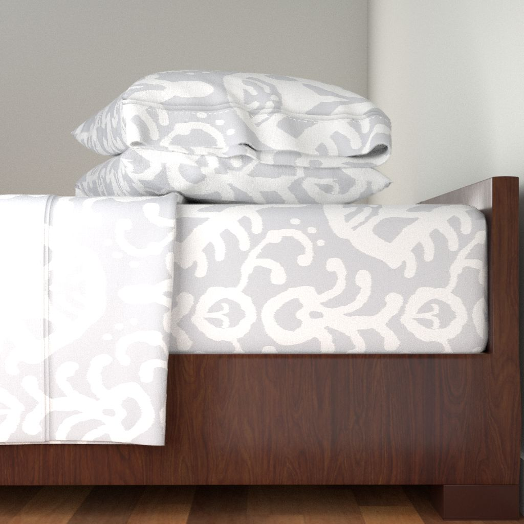 Ikat Home Dec Upholstery Gray Tribal 100% Cotton Sateen Sheet Set by Roostery