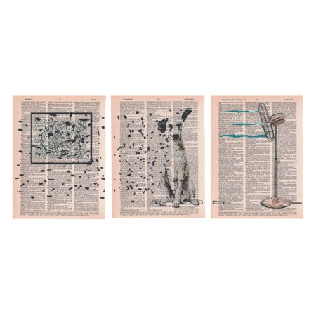 Art N Wordz Spotted Art Dalmatian Spots 3 Piece Triplicate Original Dictionary Sheet Pop Art Wall or Desk Art Poster Triptych Prints