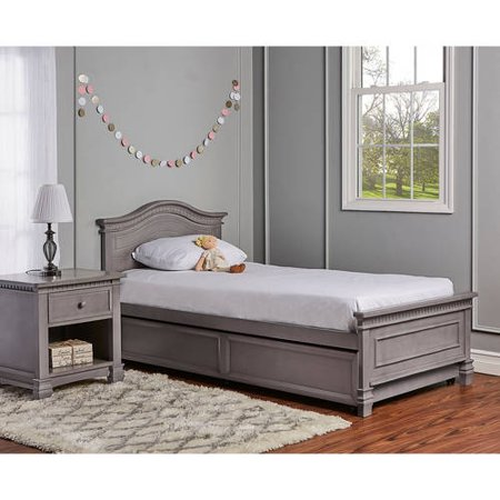 Evolur Cheyanne Twin Bed And Bed Rail, Storm Grey ()