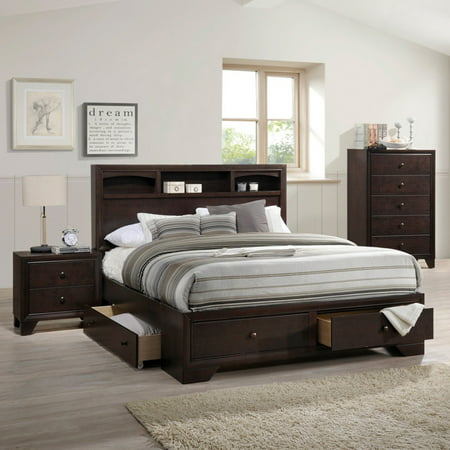 ACME Madison II Eastern King Bed with Storage in Espresso, Multiple Sizes