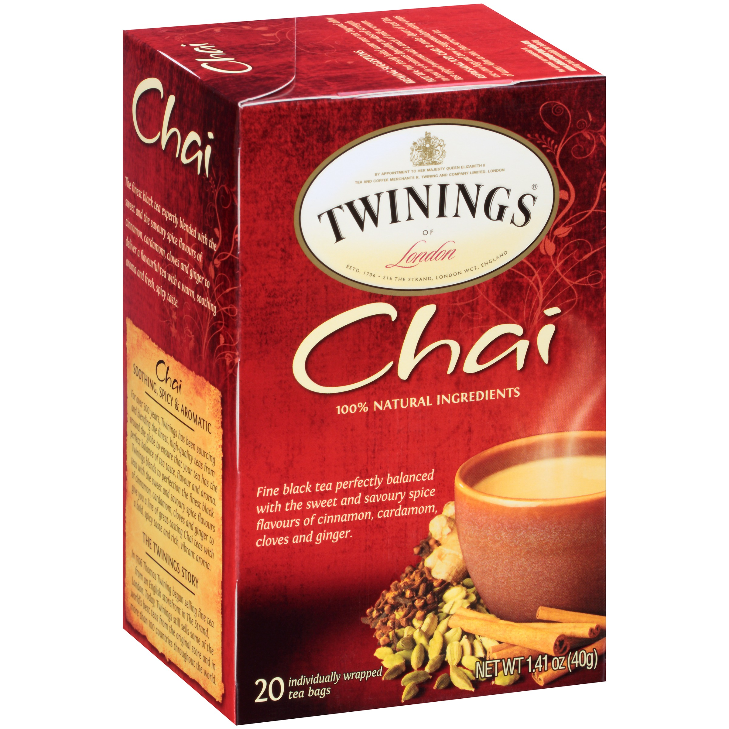 (4 Boxes) Twinings of London Chai Tea - 20 CT