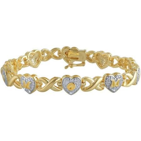 Diamond Accent 14K Yellow Gold Plated Brass Mom Heart Infinity Bracelet,7.5